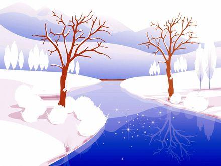 Обои Скованная синим льдом речка с заснеженными берегами, с растущими одинокими деревьями