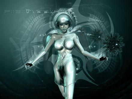 Обои Девушка робот на фоне цифровой панели