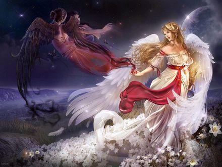 Обои Белый ангел выпускает в небо темных ангелов