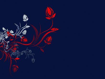 Обои Цветочные узоры на темно-синем фоне