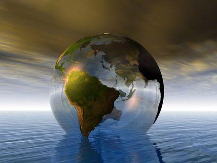 Обои Огромный прозрачный земной шар плавает на воде
