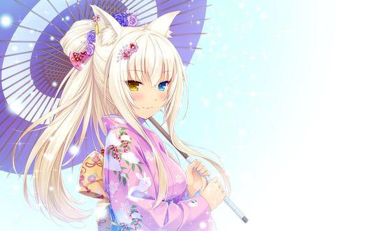 Обои Coconut / Кокос в нарядном кимоно, с зонтиком в руках, из визуальной новеллы Кошачий Рай / Neko Paradise by Sayori