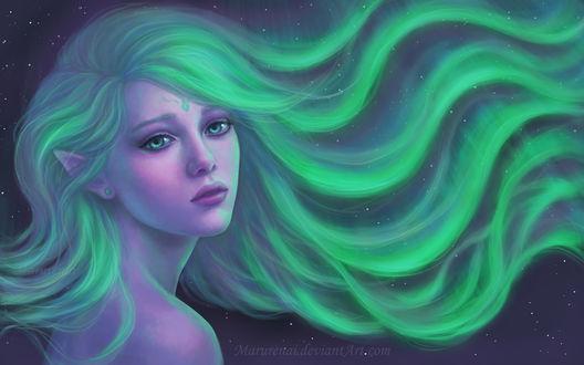Обои Эльфийка с длинными развевющимися зелеными волосами, превращающимися в северное сияние, by marurenai