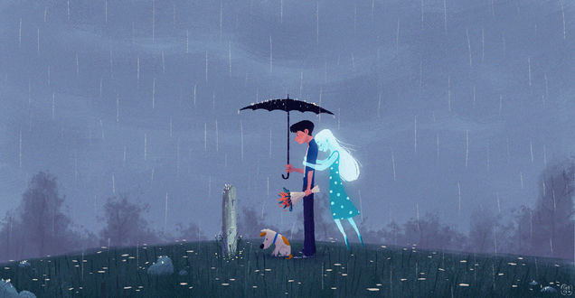 Обои Парень с собакой стоит у могилы своей подруги, которая стала призраком и сейчас обнимает его