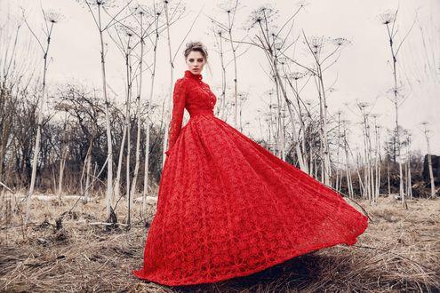 Обои Модель Алеся Кафельникова в красном платье с пышной юбкой на фоне осеннего пейзажа