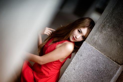 Обои Азиатка в красном платье у серой стены