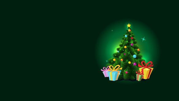 Обои Новогодняя елка с подарками на зеленом фоне