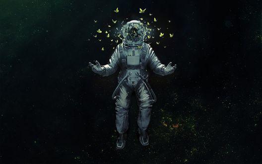 Обои Космонавт в космосе с бабочками вокруг шлема на голове