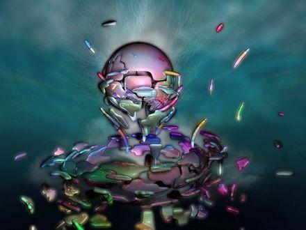 Обои Розовый шар в окружении разноцветных частиц на размытом фоне
