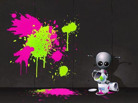 Обои Робот художник делает цветные кляксы на стене, брызгая с ведерок