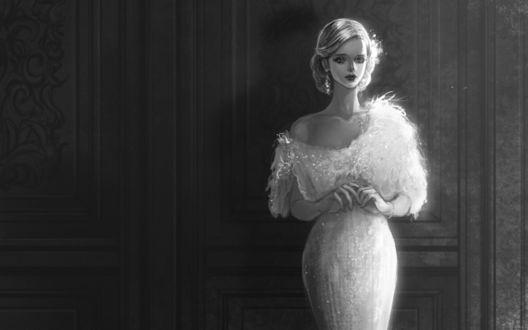 Обои Задумчивая девушка одетая в приталенное белое платье с открытым плечом стоит у стены