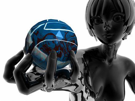 Обои Черная девушка держит в вытянутой руке синий шар с абстракцией