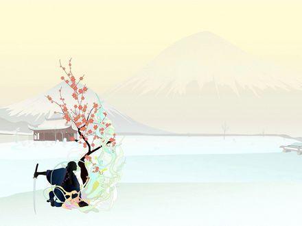 Обои На фоне одинокого домика и заснеженных гор, под цветущей сакурой сидит самурай с катаной в руке