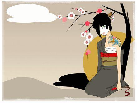 Обои Девушка японка с цветным тату на плече, с веером в руке, сидит под цветущей сакурой