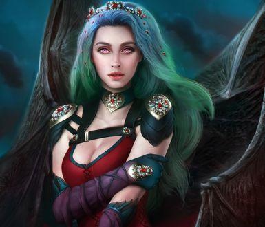 Обои Вампирша с зелеными волосами на фоне пасмурного неба