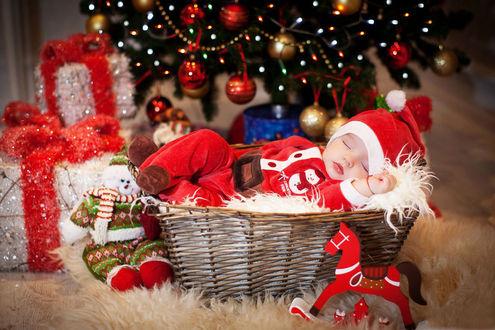 Обои Ребенок в наряде деда мороза спит в корзинке под новогодней елкой, рядом игрушки, подарки