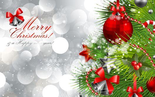 Обои Рождественская елка, украшенная игрушками (Merry Christmas! Happy new year! / С Рождеством! С Новым годом!)