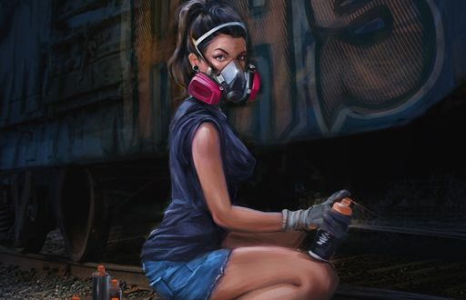 Обои Девушка с балончиком краски рисует на вагоне поезда