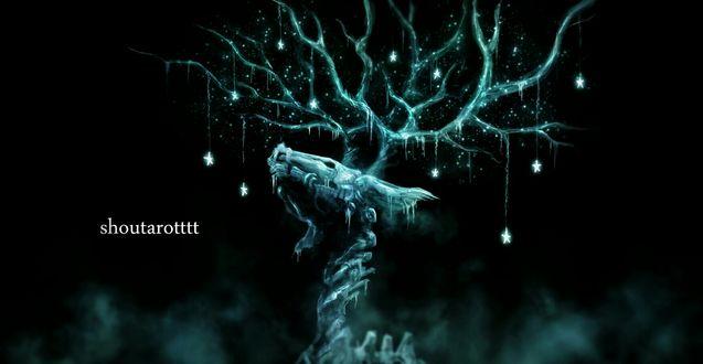 Обои Скелет дракона, рога которого украшены звездами, by shoutarotttt