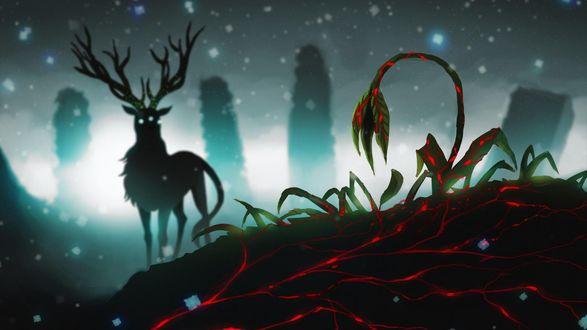 Обои Рождественский олень на фоне фантастичных растений