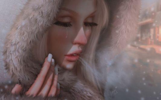 Обои Плачущая девушка под падающим снегом