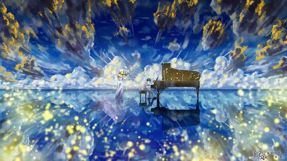 Обои Косэй Арима / Kousei Arima и Каори Миязоно / Kaori Miyazono играют на своих инструментах, скрипке и фортепиано, из аниме Твоя апрельская ложь / Shigatsu wa Kimi no Uso,