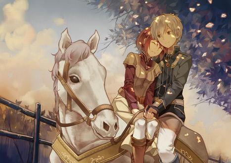 Обои Shirayuki и принц Zen Wistaria едут на белой лошади из аниме Красноволосая Белоснежка / Akagami no Shirayuk-ihime