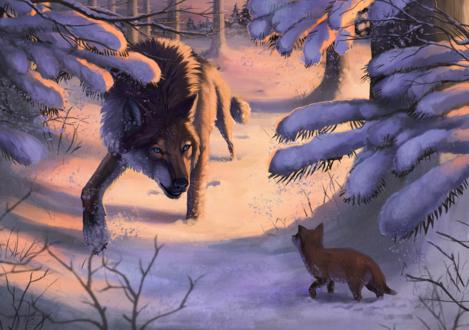 Обои Волк и волчонок в зимнем лесу, by wolf-minori