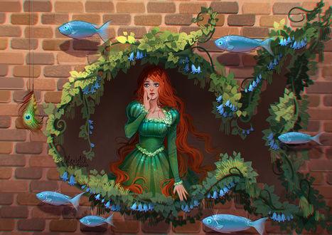 Обои Рыжеволосая девушка в стенном проеме в форме рыбки, поросшем листьями, by alexielart