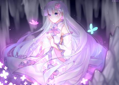Обои Длинноволосая девушка с магическим шаром в руках смотрит на розовую бабочку, by Lilianei