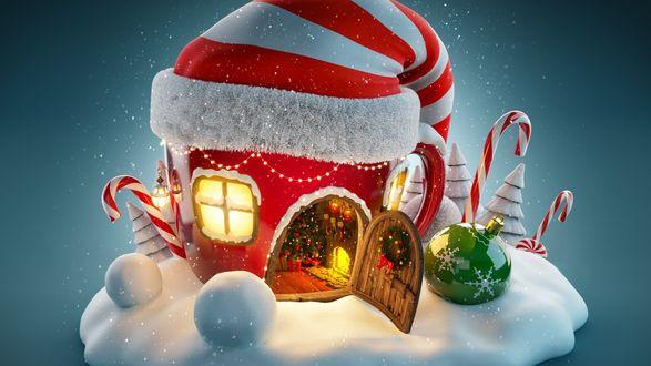 Обои Новогодний декоративный домик в колпаке