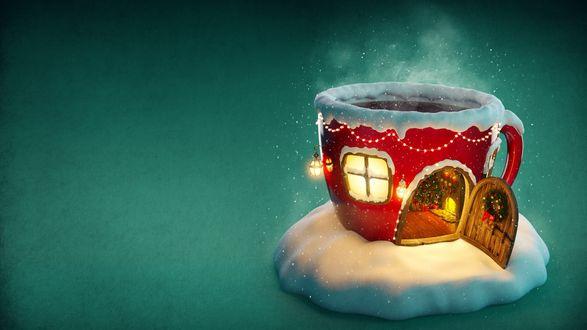 Обои Новогодний декоративный домик в виде чашки на снегу