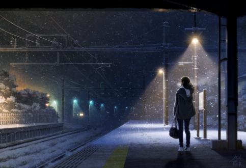 Обои Девушка стоит на железнодорожном перроне