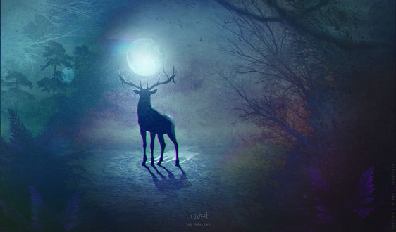 Обои Силуэт оленя, в рогах которого луна, by Mike-Uriel (Lovell - The Healing)