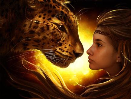 Обои Девушка и леопард смотрят друг другу в глаза