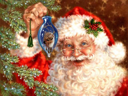 Обои Дед Мороз, борода из ваты, в руке новогодняя игрушка, на носу очки, рядом с веткой елки на фоне звездочек