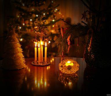 Обои На столе горят свечи, стоит маленькая елочка, ваза с ветками елки, игрушками, на фоне новогодней елки с огоньками