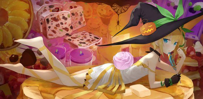 Обои Edna / Эдна с леденцом лежит среди сладостей из аниме Сказания Зестирии / Tales of Zestiria: The X