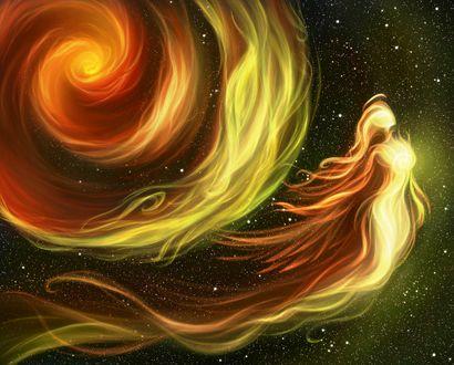 Обои Огненная девушка с нимбом над головой в ночном небе, by Earlinwe