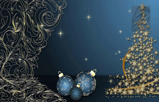 Обои Новогодний фон, обои, елка, игрушки, звездочка, занавеска ажурная