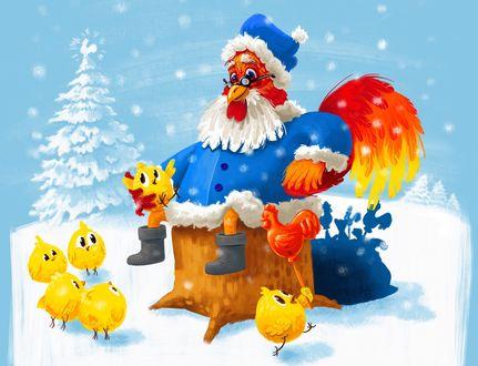 Обои Новогодний петух в окружении цыплят, by Peter Prosalov
