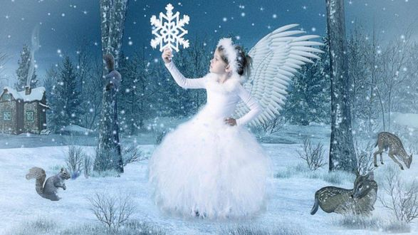 Обои Девочка-ангел держит снежинку в руке, рядом белка, лесные животные, на фоне зимы, домик с трубой, день снежных ангелов