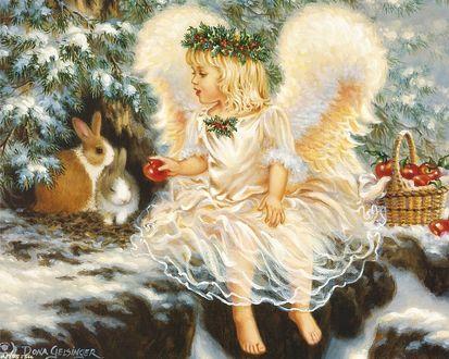 Обои Девочка-ангел с венком на голове, в руке яблоко, сидит рядом с кроликами, под зимней елкой, корзинка с яблоками, художница Dona Gelsinge
