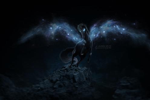 Обои Черный пегас с космическими крыльями на вершине скалы, by duskbeguile