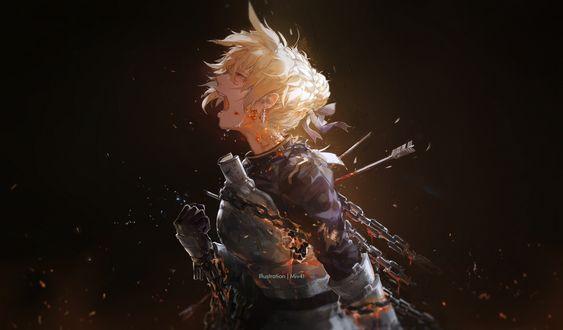 Обои Смертельно раненная Сайбер / Saber кричит от боли из аниме Судьба / Ночь схватки / Fate / Stay Night, art by Miv4t