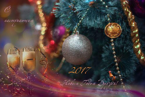 Обои Два бокала шампанского у новогодней елки, (С наступающим 2017 Новым Годом, друзья! ), фотограф Михаил Александров