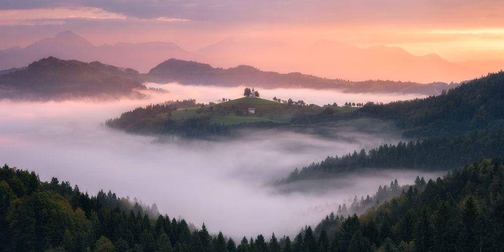 Обои для рабочего стола Утро в Slovenia / Словении, фотограф Daniel F