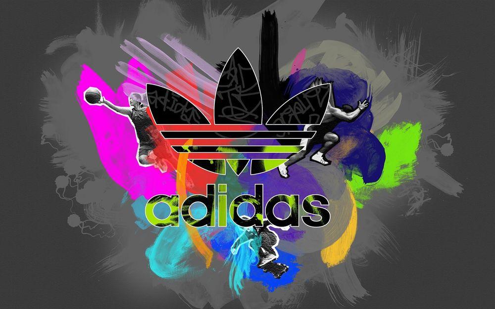 Обои для рабочего стола Разноцветный логотип фирмы adidas