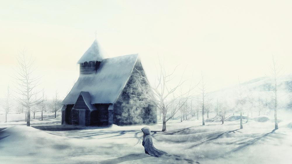 Обои для рабочего стола Девушка идет по снегу к дому
