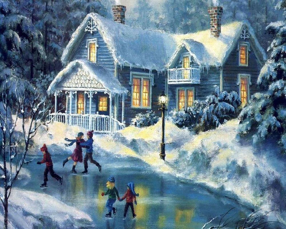 Обои для рабочего стола Дети катаются на льду возле дома зимой, художник Thomas Kinkade / Томас Кинкейд